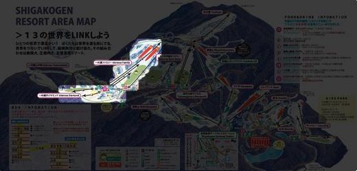 志賀高原における一の瀬スキー場の位置