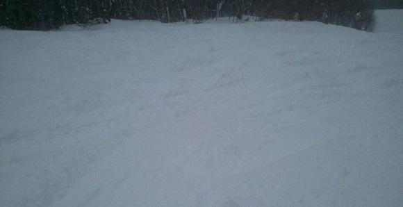 パウダーコースの非圧雪部分