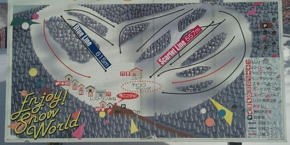 峰の原高原スキー場の全体図が書かれた看板