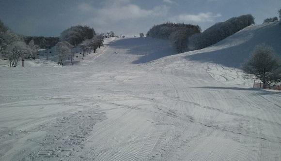 峰の原高原スキー場の中級C・上級Dコースを下から見た所