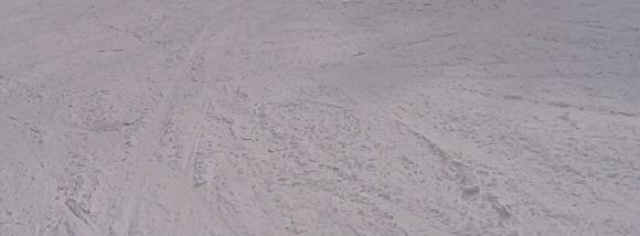 いいづなリゾートのEコースの斜面の雪の跡