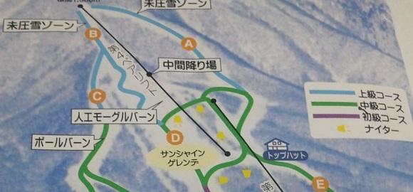 いいづなリゾートの中間降り場付近のゲレンデマップ拡大写真