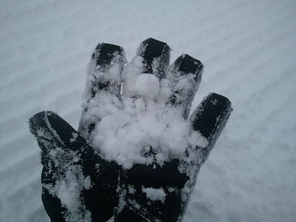 曇りの日のルスツの雪の見た目