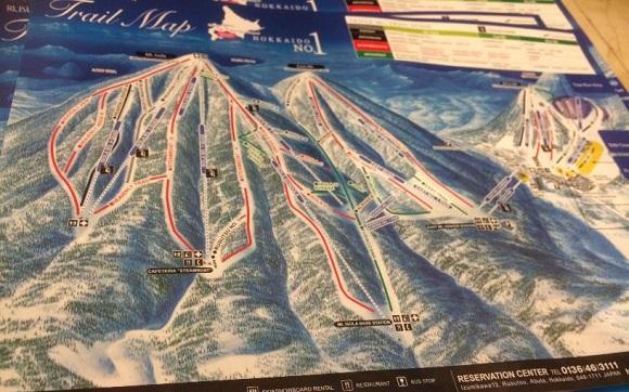 北海道のルスツスキー場のゲレンデマップ