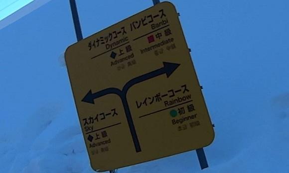 West Mt.のコースの標識