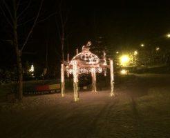 夜のスキー場のライトアップ